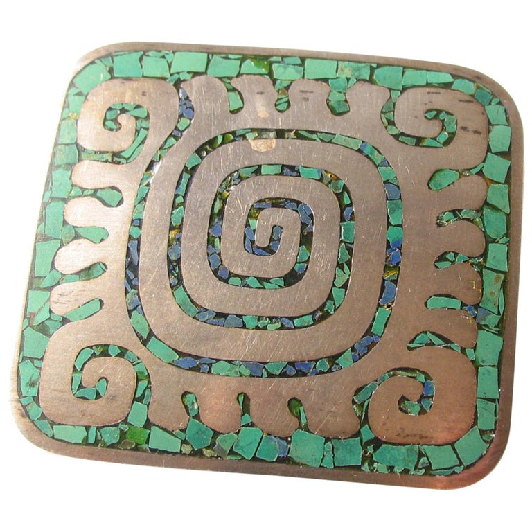 Enrique Ledesma Mexican Silver & Turquoise Aztec Labyrinth Pin  For Sale