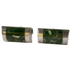 Enrique Ledesma Sterling Silver Mexican Modernist Agate Cufflinks