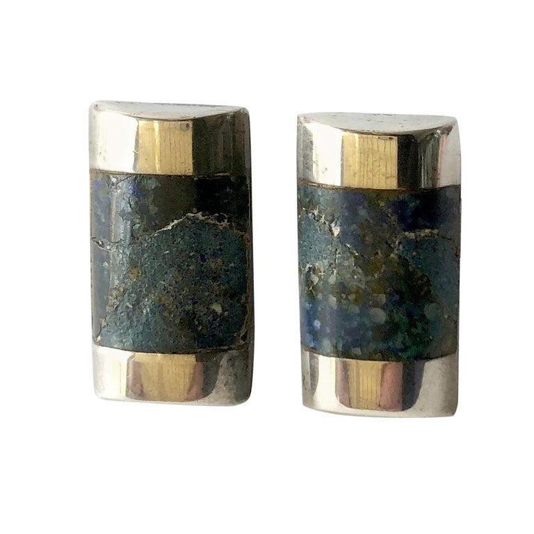 Enrique Ledesma Sterling Silver Mexican Modernist Agate Cufflinks For Sale