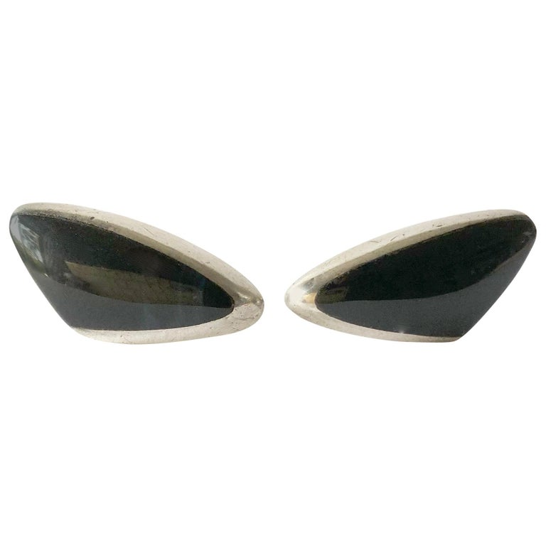 Enrique Ledesma Sterling Silver Obsidian Mexican Modernist Cufflinks For Sale