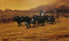 Bulls in the  Field origial realist acrylic canvas painting