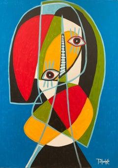 Hombre en Azul, Contemporary Art, Abstract Painting, 21st Century