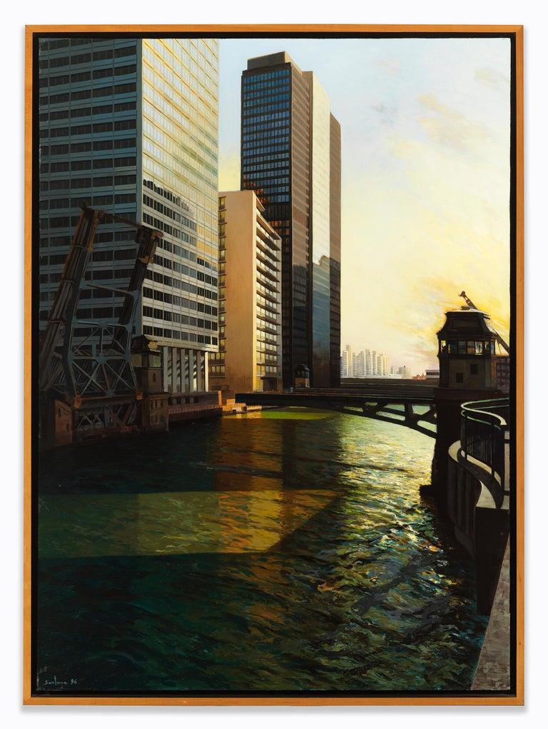 Raised Bridge, South Branch of the Chicago River, Urban Landscape, Oil on Linen - Painting by Enrique Santana