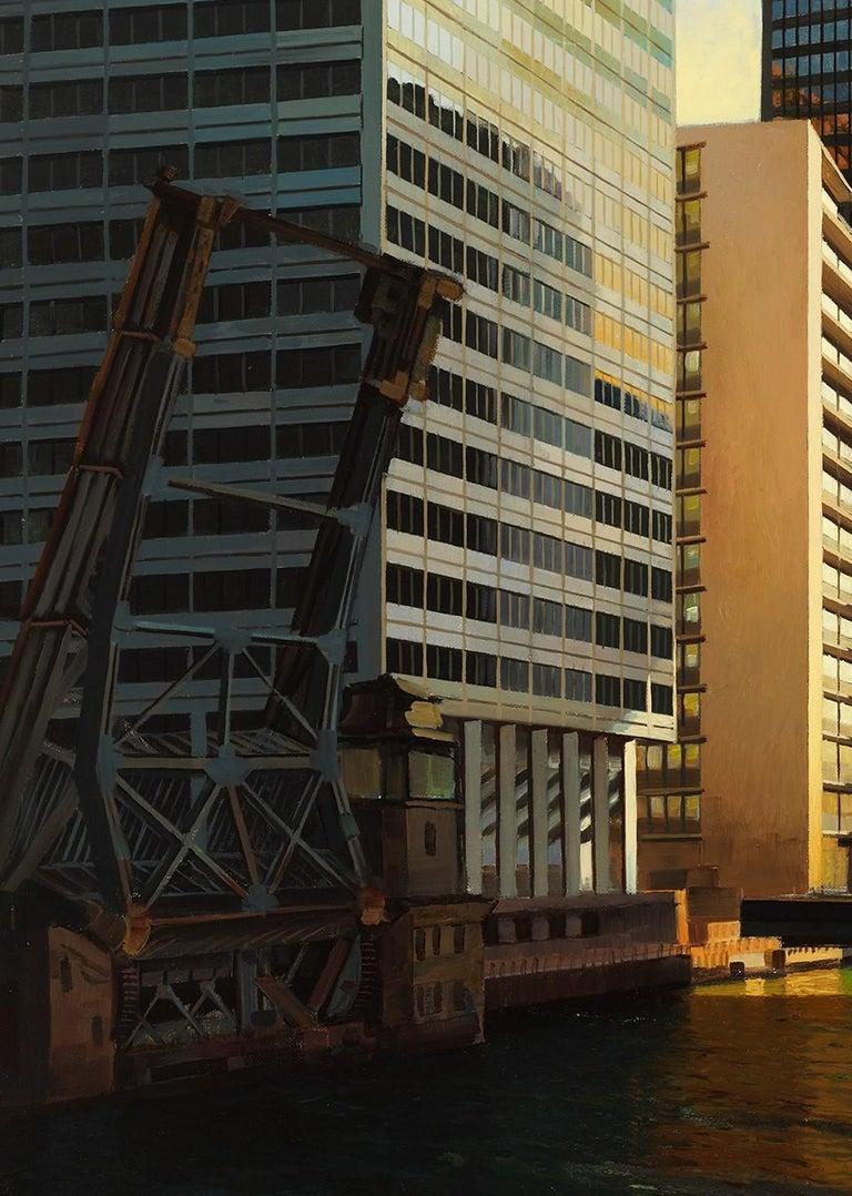 Raised Bridge, South Branch of the Chicago River, Urban Landscape, Oil on Linen - Contemporary Painting by Enrique Santana