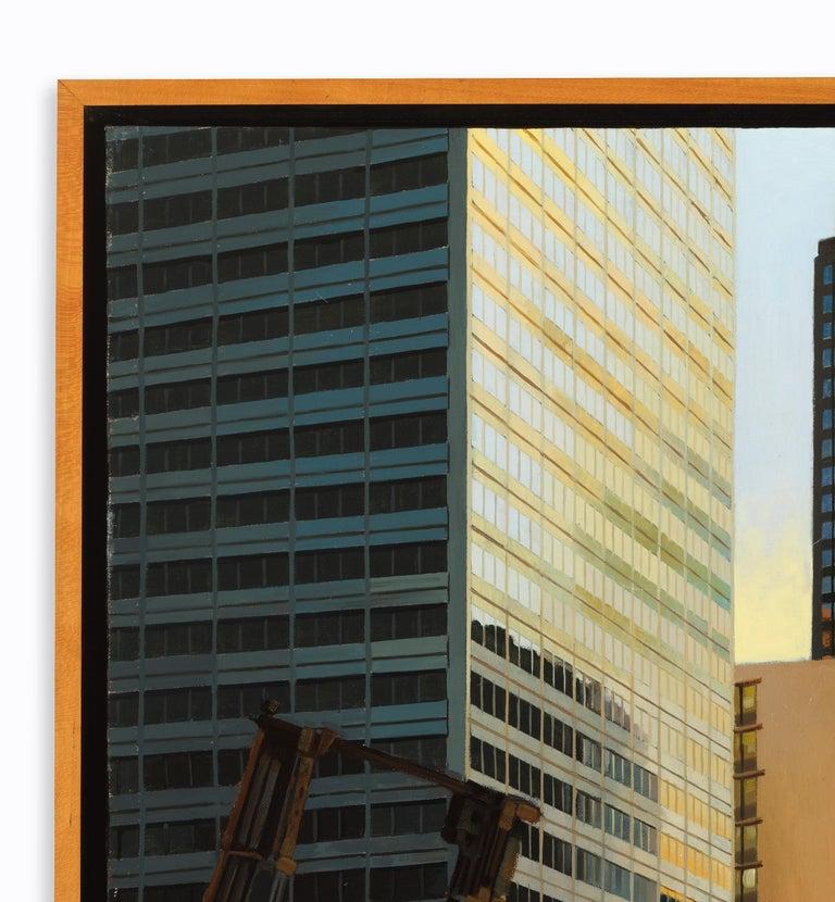 Raised Bridge, South Branch of the Chicago River, Urban Landscape, Oil on Linen - Black Landscape Painting by Enrique Santana