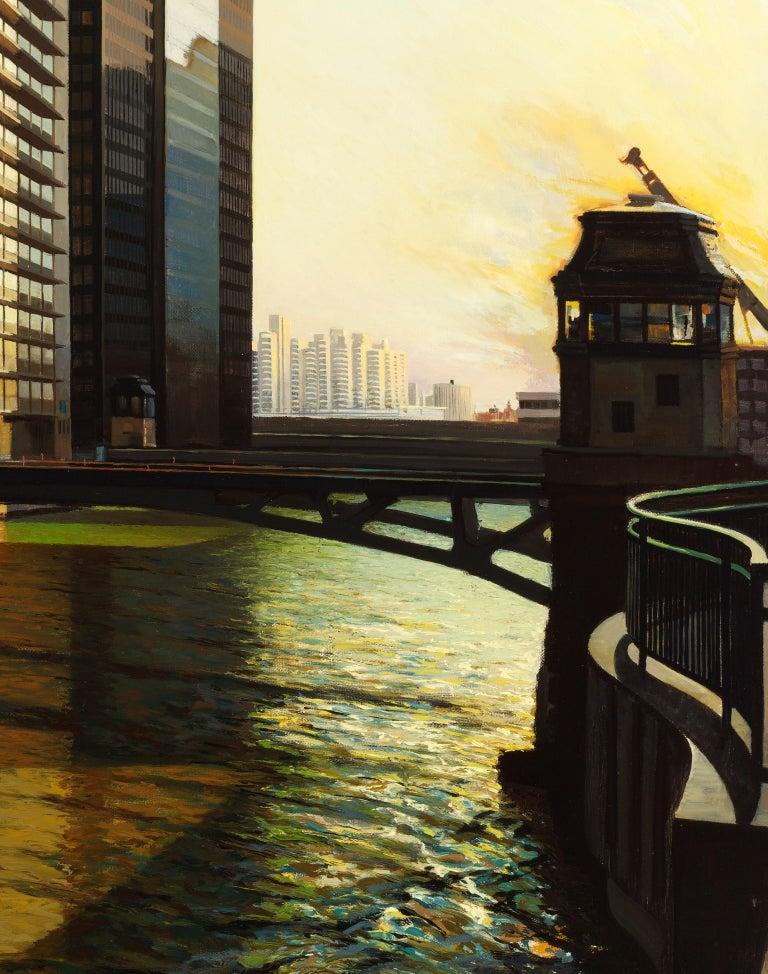 Raised Bridge, South Branch of the Chicago River, Urban Landscape, Oil on Linen For Sale 1