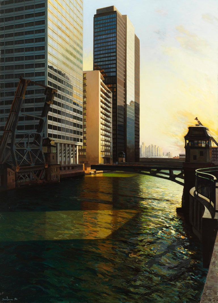 Enrique Santana Landscape Painting - Raised Bridge, South Branch of the Chicago River, Urban Landscape, Oil on Linen