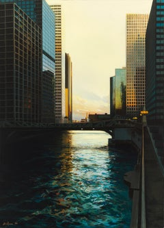 River Bridge, Urban Landscape, Chicago's Loop and Chicago River, Oil on Linen