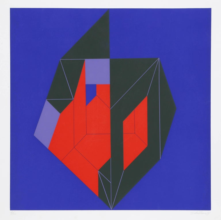 Enrique Sebastian Carbajal Abstract Print - Composition in Green, Red, and Blue