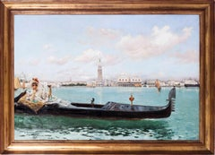 Large 19th C oil painting of a lady on the Venetian Lagoon by Serra y Auque