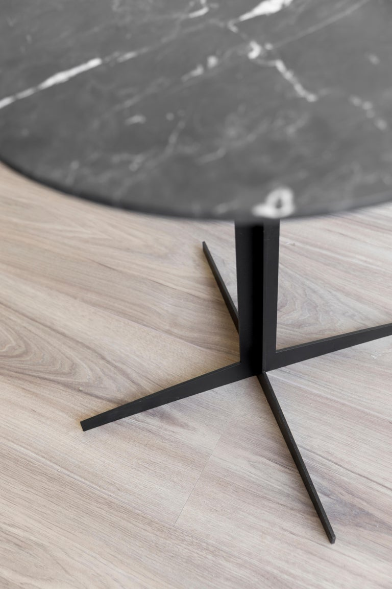 Mexican Ensamble steel and black marble Side Table For Sale