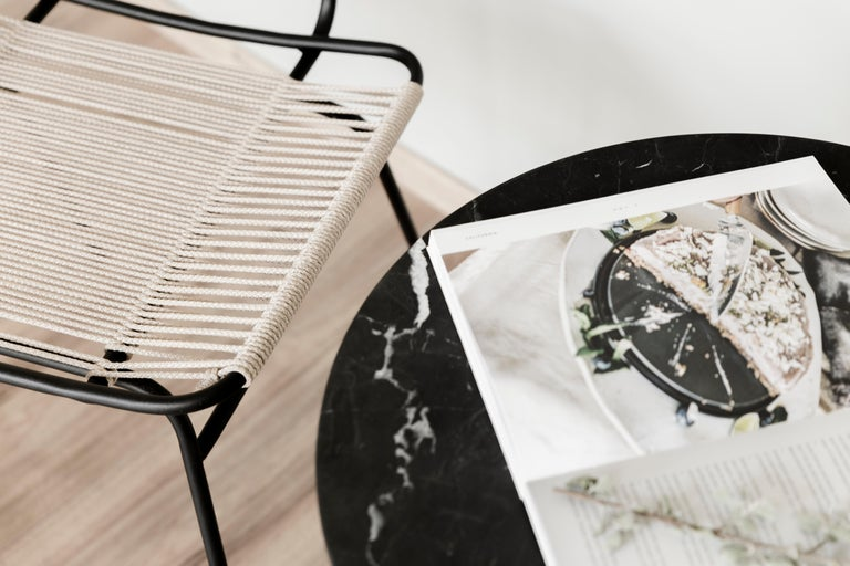 Contemporary Ensamble steel and black marble Side Table For Sale