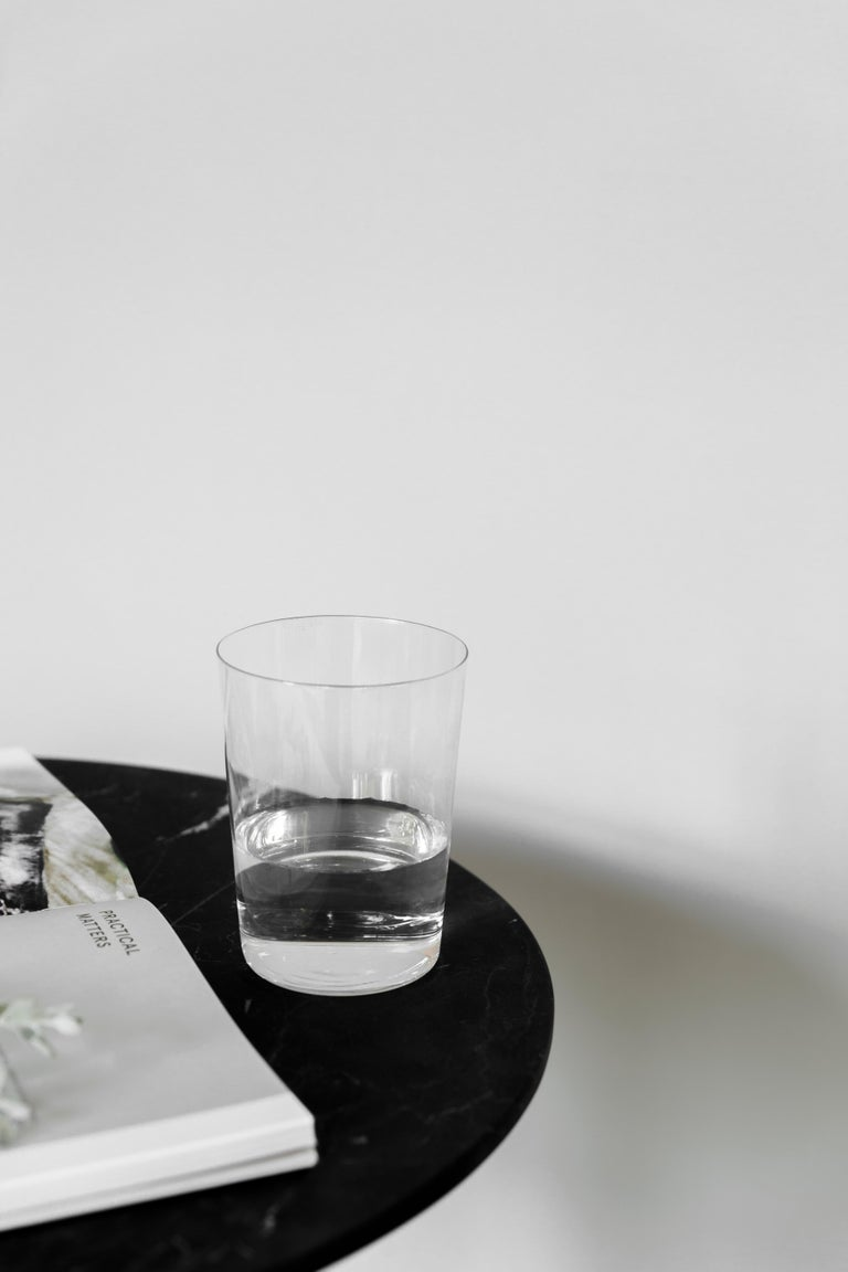 Marble Ensamble steel and black marble Side Table For Sale
