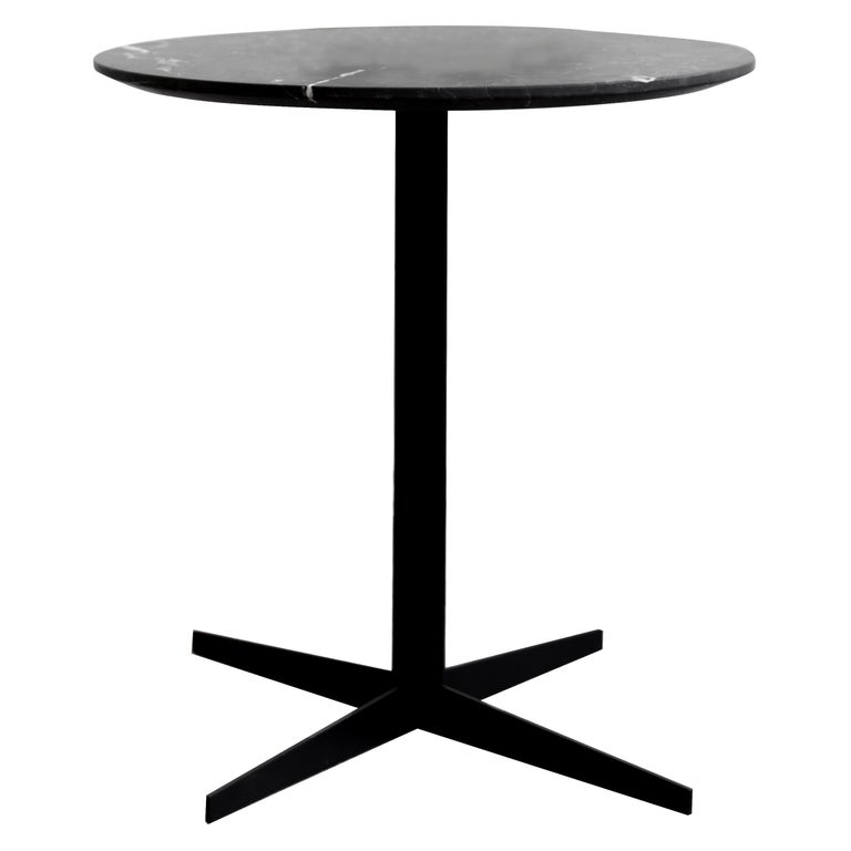 Ensamble steel and black marble Side Table For Sale