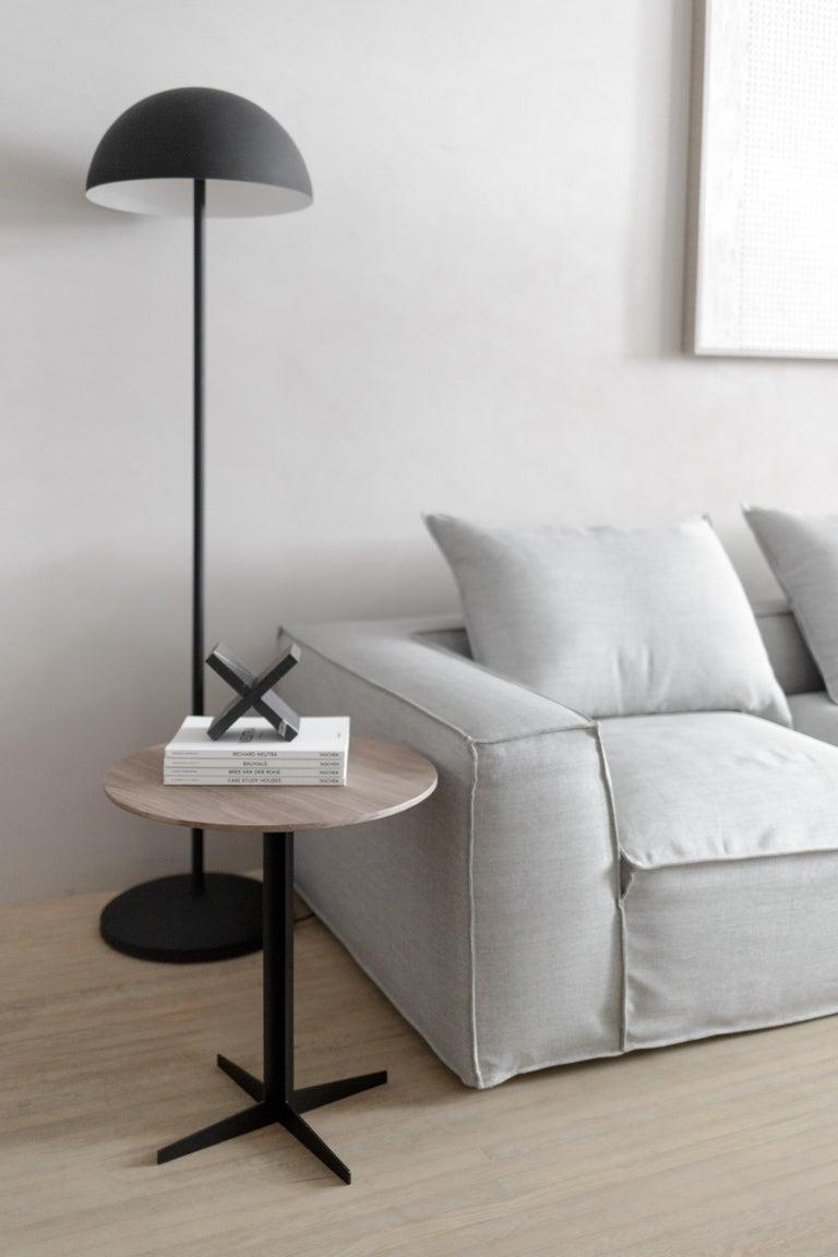 Modern Ensamble Steel and Walnut Veneer Side Table For Sale
