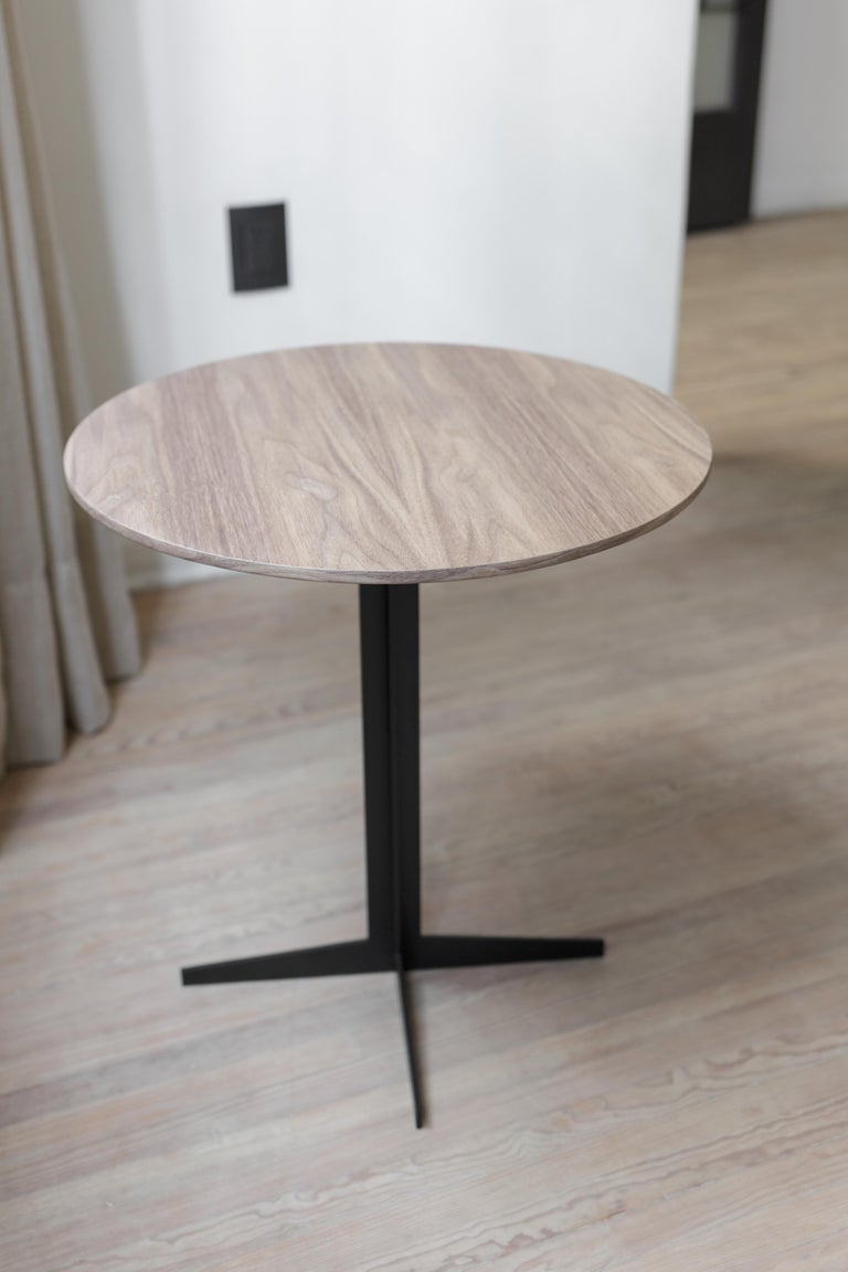 Mexican Ensamble Steel and Walnut Veneer Side Table For Sale