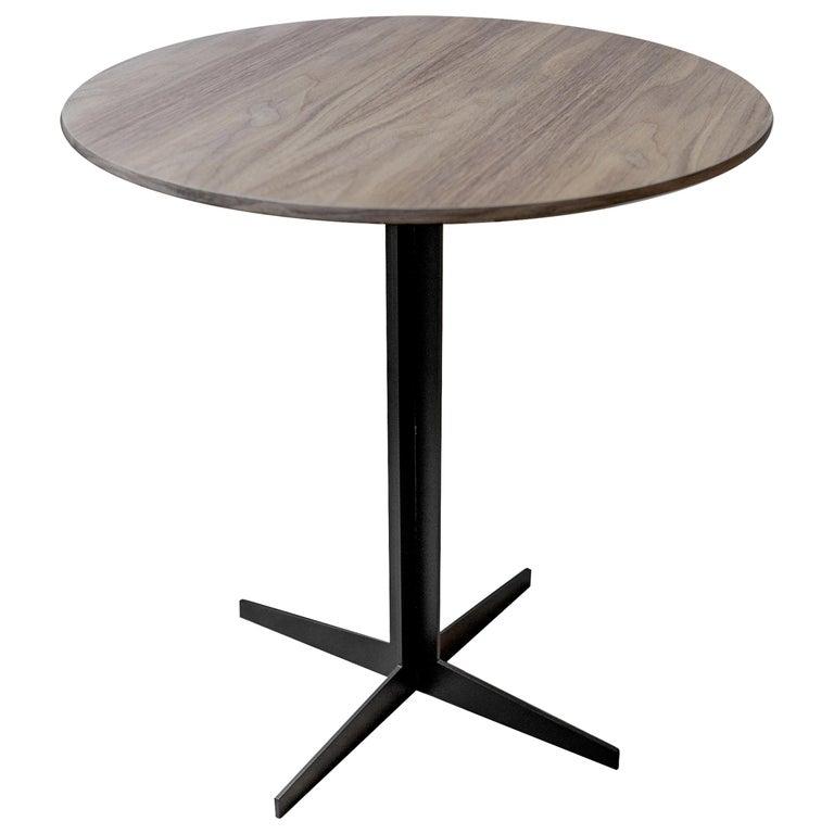 Ensamble Steel and Walnut Veneer Side Table For Sale