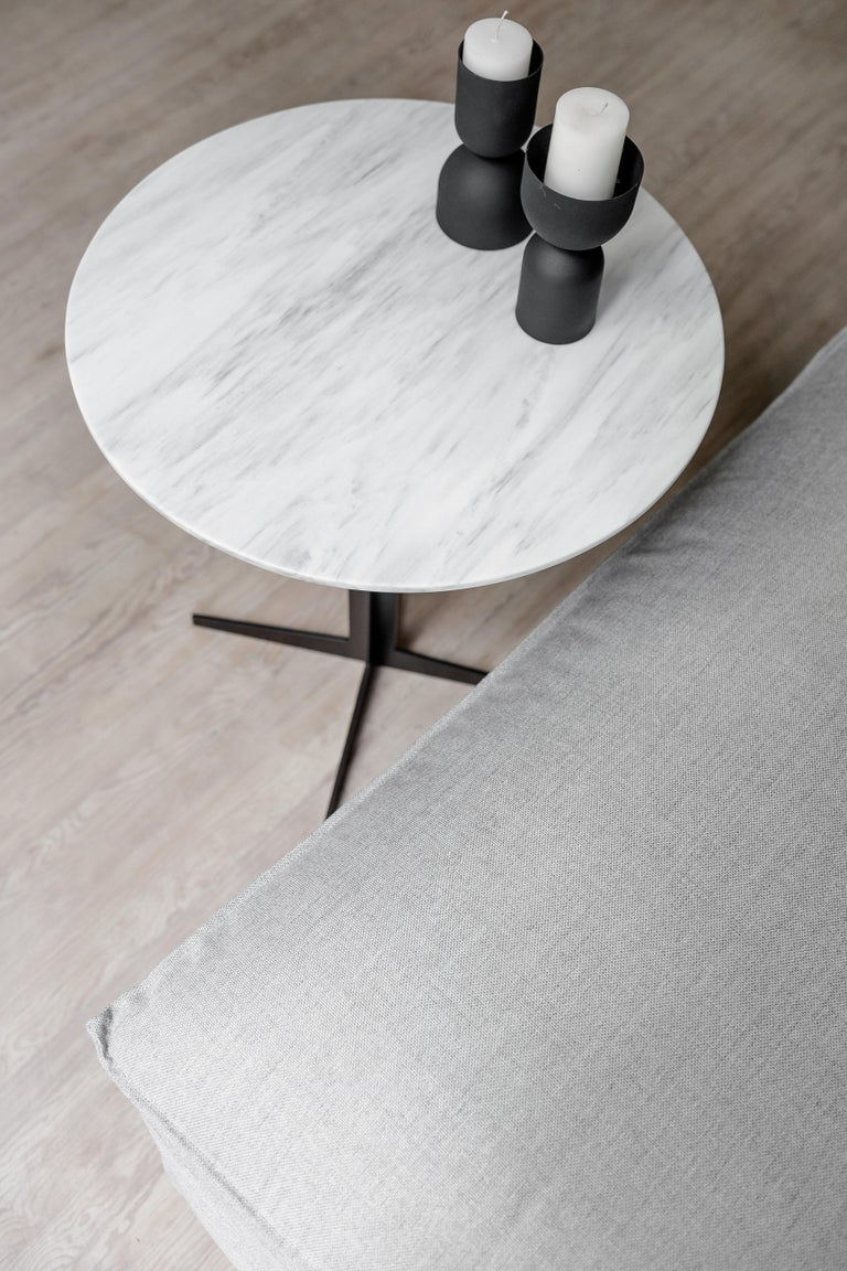 Modern Ensemble Steel and White Marble Side Table For Sale
