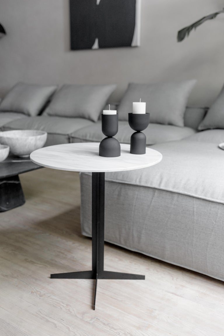 Mexican Ensemble Steel and White Marble Side Table For Sale