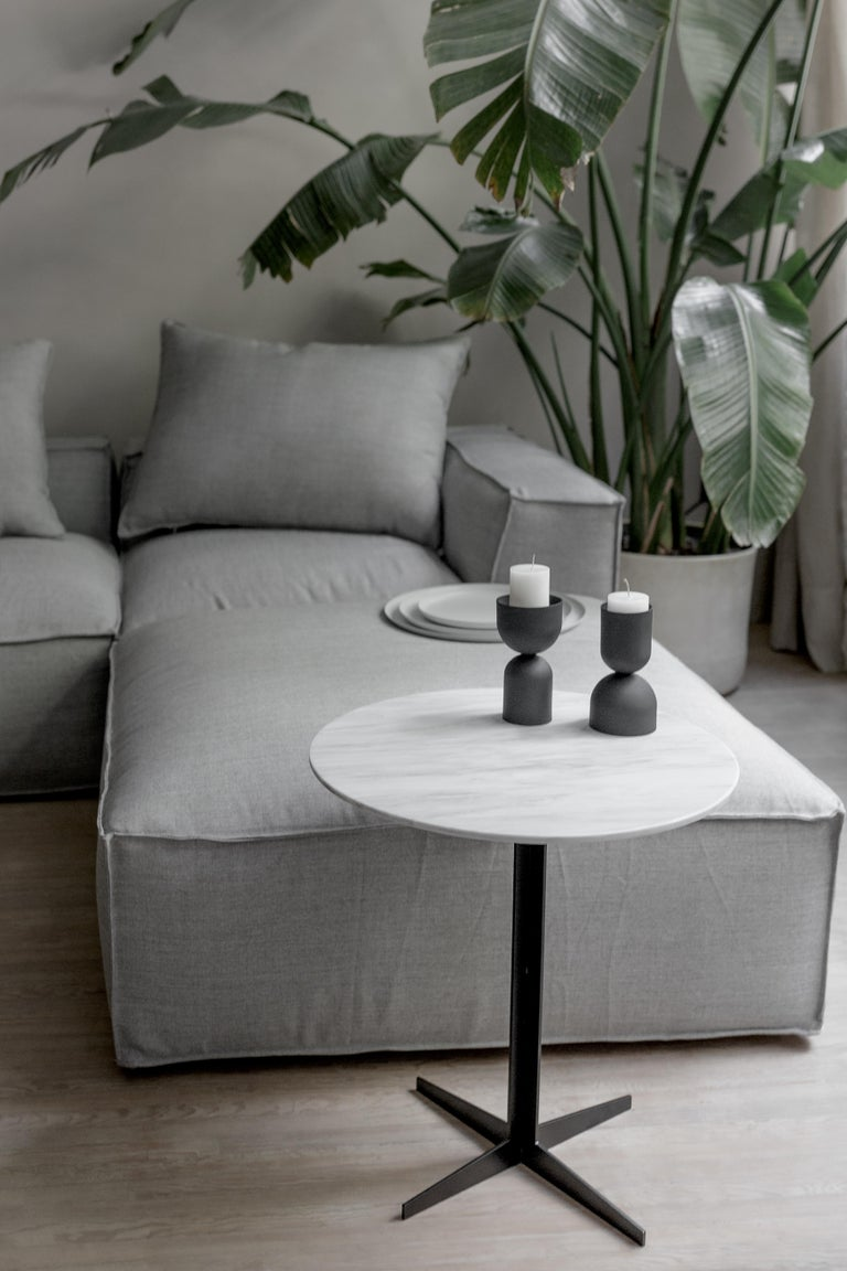 Hand-Crafted Ensemble Steel and White Marble Side Table For Sale
