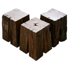 Ensemble of Ancient Normandy Oak New Designed Stool Tables by Timothée Musset