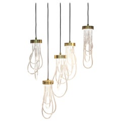 Ensemble of Brass Light Pendants, Cascade