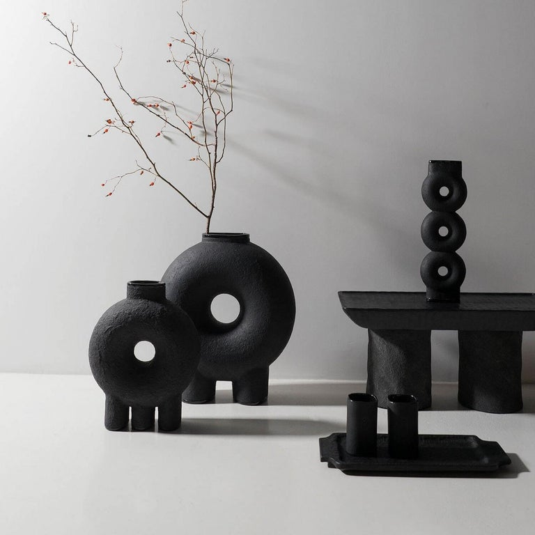 Organic Modern Ensemble of Sculpted Ceramic Vases by Victoria Yakusha For Sale