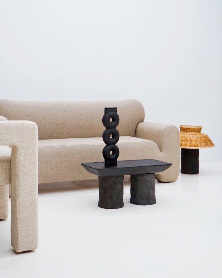 Clay Ensemble of Sculpted Ceramic Vases by Victoria Yakusha For Sale