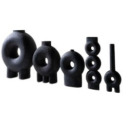 Ensemble of Sculpted Ceramic Vases by Victoria Yakusha