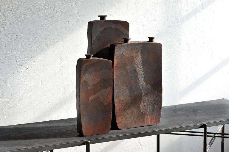 Modern Ensemble of Three Brown Bottles by Lukasz Friedrich For Sale