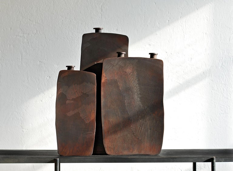 Contemporary Ensemble of Three Brown Bottles by Lukasz Friedrich For Sale