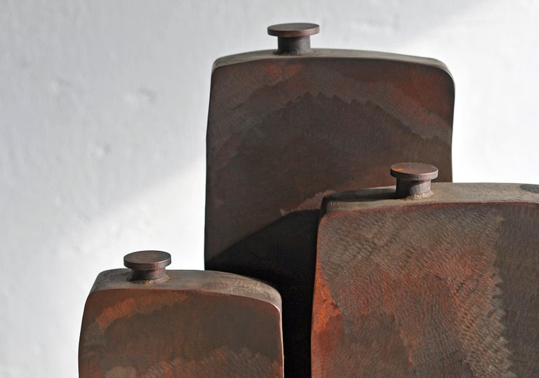 Steel Ensemble of Three Brown Bottles by Lukasz Friedrich For Sale