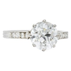 Enticing Edwardian 2.68 Carat Diamond Platinum Engagement Ring GIA