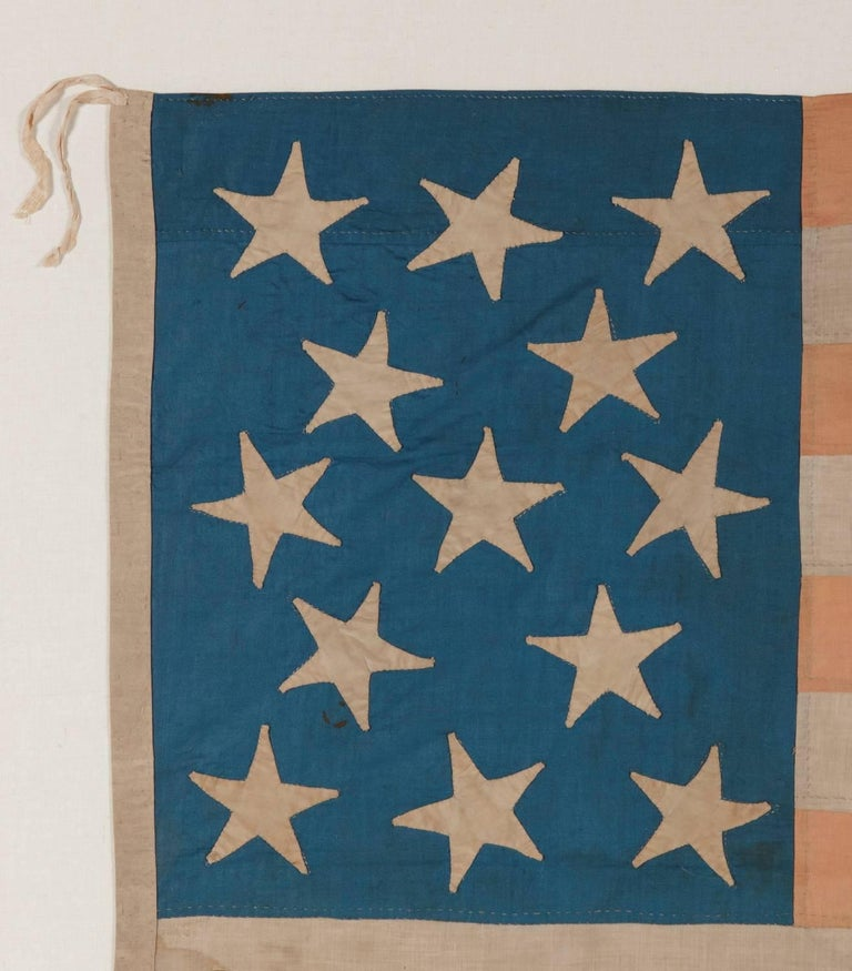 Entirely Hand-Sewn American National Flag with 13 Stars on a Tall Canton In Good Condition For Sale In York County, PA