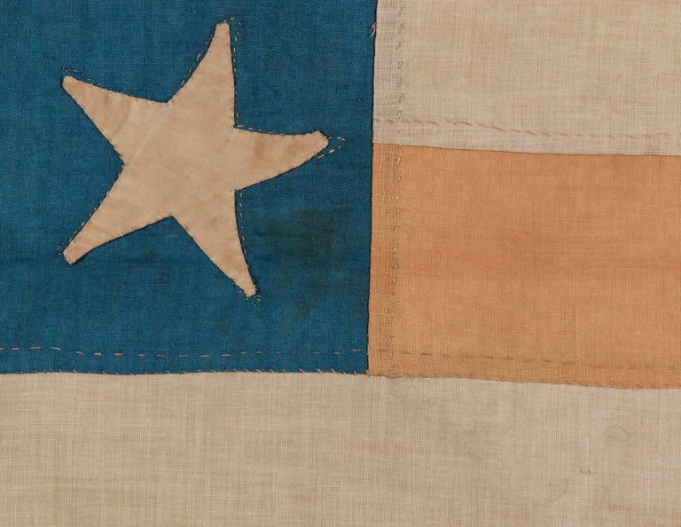 19th Century Entirely Hand-Sewn American National Flag with 13 Stars on a Tall Canton For Sale