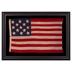 Entirely Hand Swen 13 Star American Flag, U.S Navy Boat Ensign