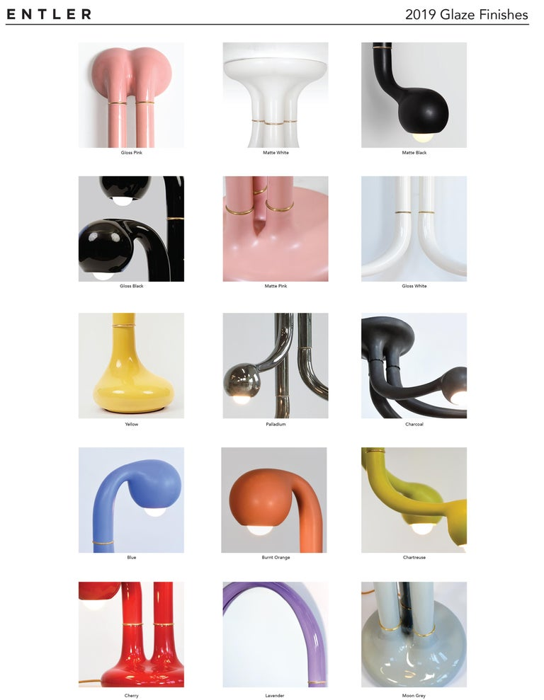 Cast Entler Ceramic Three-Globe Table Lamp For Sale