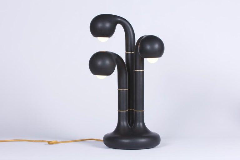 Organic Modern Entler Ceramic Three-Globe Table Lamp For Sale