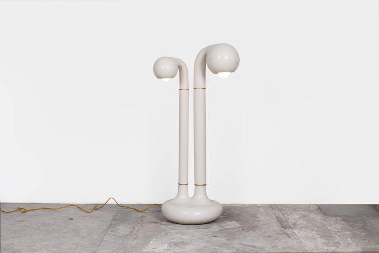 Glazed Entler Matte Black Ceramic Two-Globe Floor Lamp For Sale