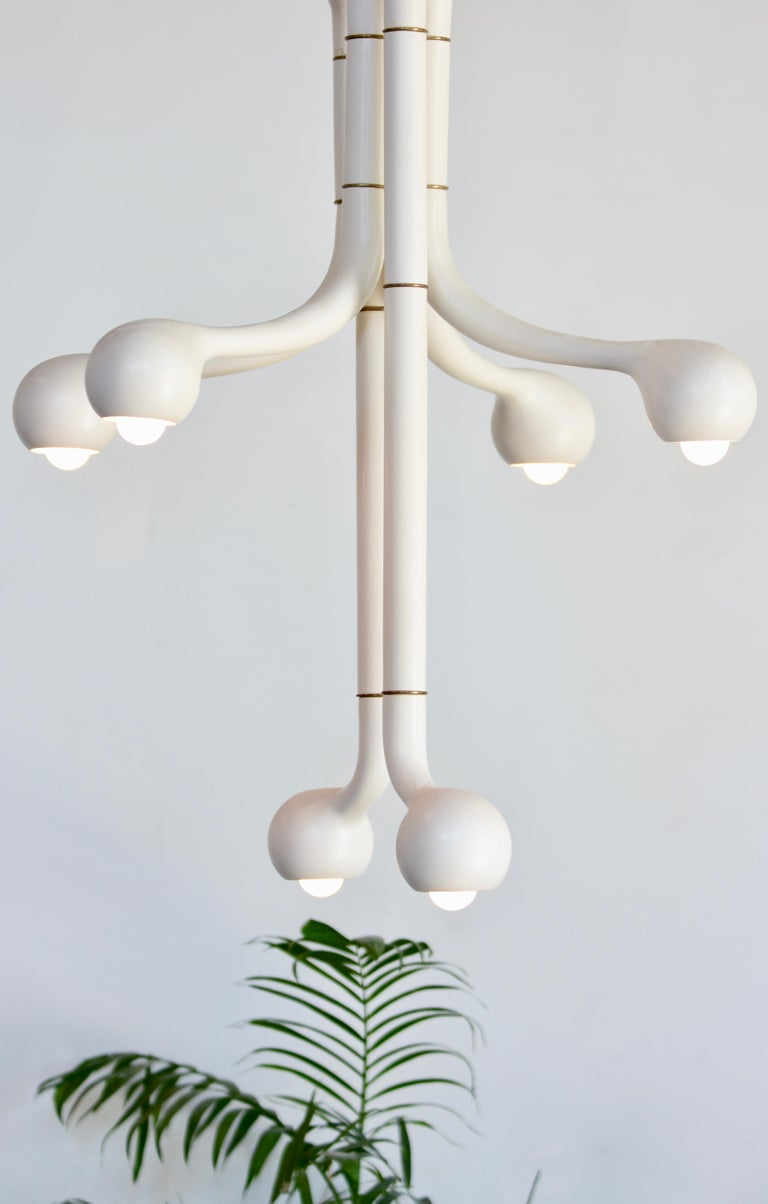 Entler Matte White Ceramic Six Globe Chandelier For Sale At 1stdibs
