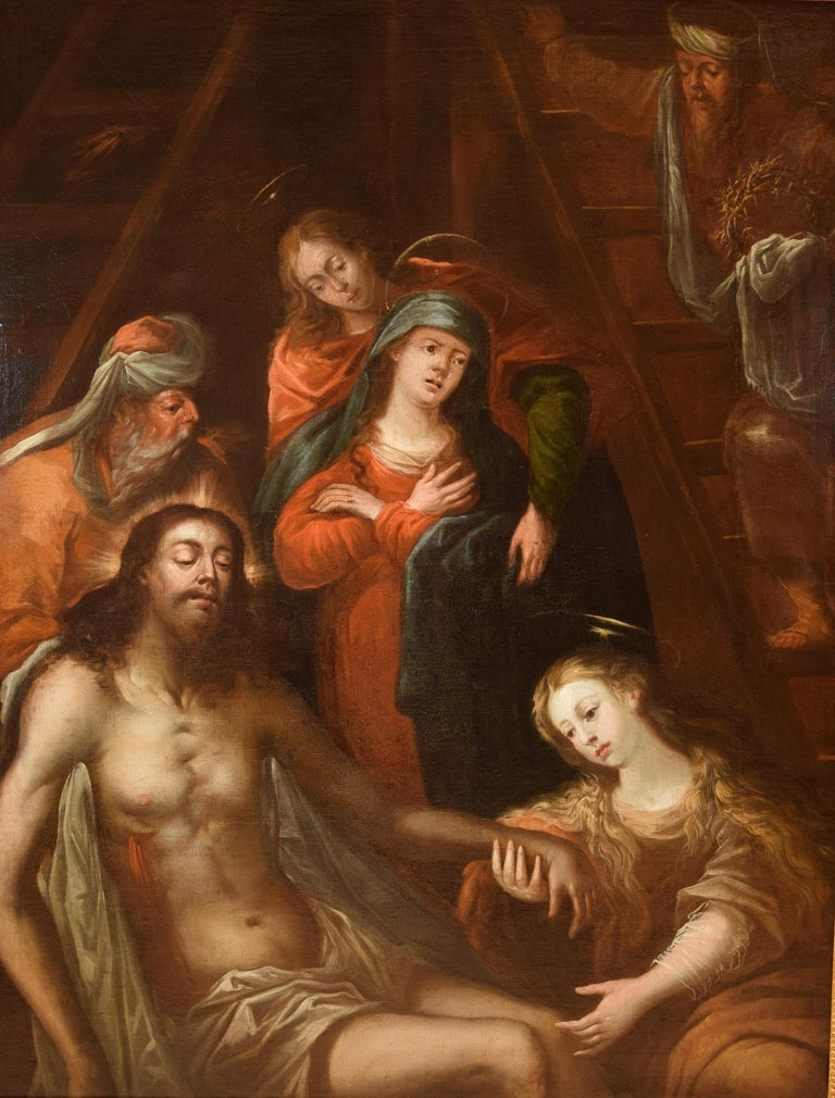 Descent oil on canvas. Flemish school, 17th century.