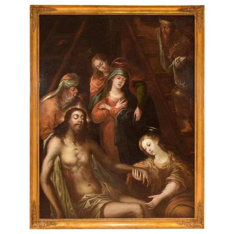 Entombent or Lamentation, Oil on Canvas, Flemish School, 17th Century For Sale