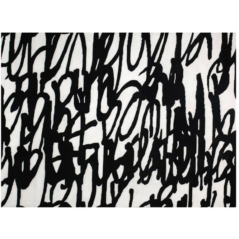 "Art Rug in Premium New Zealand Wool ""Entrelíneas"" For Sale"