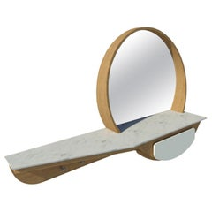 Entryway Mirror M02 Contemporary Lacquer White Oak Marble Counter Made in Italy