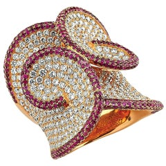 Entwined 18K Gold Ring with White Diamonds '4.92 Carat' and Rubies '2.7 Carat'