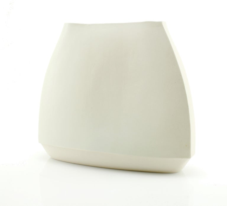 Envelope Vase Large White Vase Modern Contemporary Glazed Porcelain In New Condition For Sale In Asheville, NC