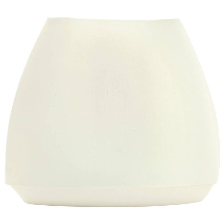 Envelope Vase Large White Vase Modern Contemporary Glazed Porcelain For Sale