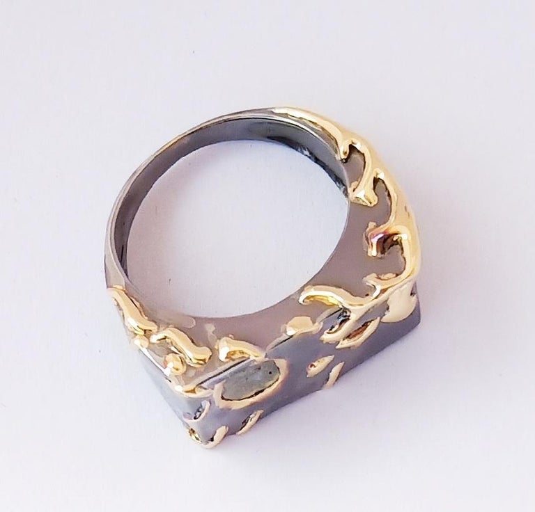 Uncut Envious Eyes will Roll with Contemporary One of a Kind Colored Diamond Gold Ring For Sale
