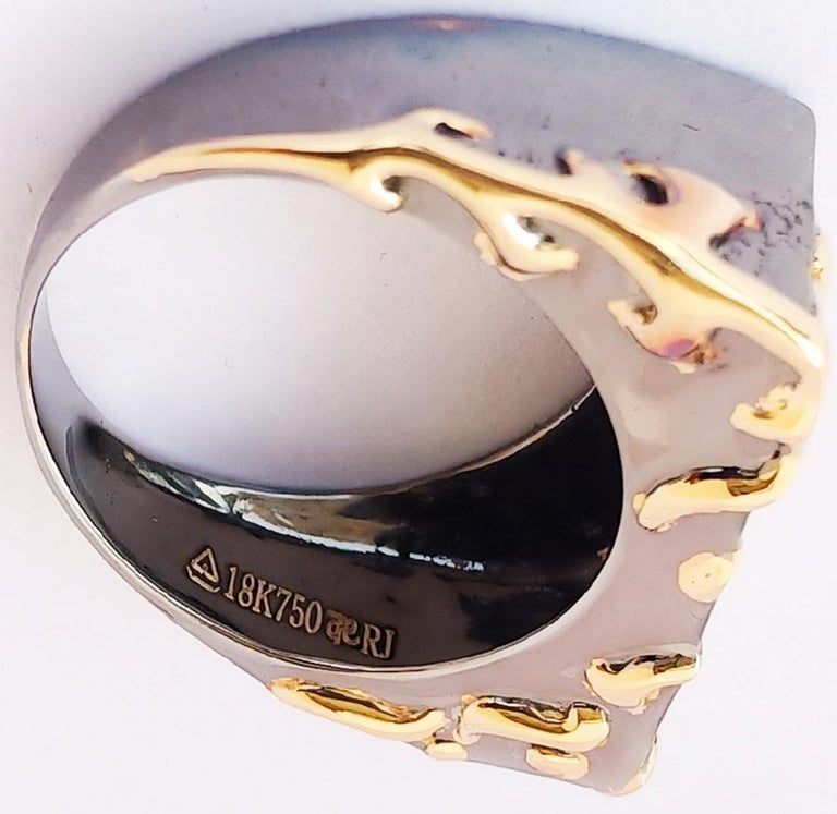 Women's Envious Eyes will Roll with Contemporary One of a Kind Colored Diamond Gold Ring For Sale