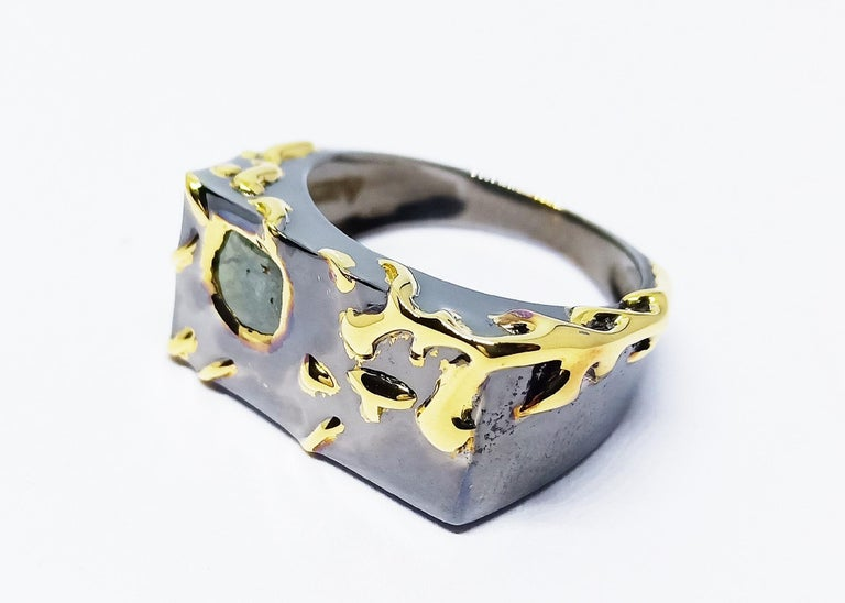 Envious Eyes will Roll with Contemporary One of a Kind Colored Diamond Gold Ring For Sale 4